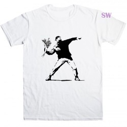 Banksy Flower Thrower T Shirt
