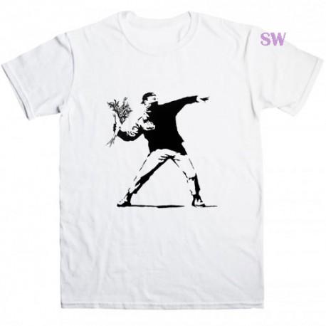 Banksy Flower Thrower T Shirt